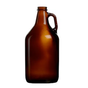Image of an amber glass beer growler