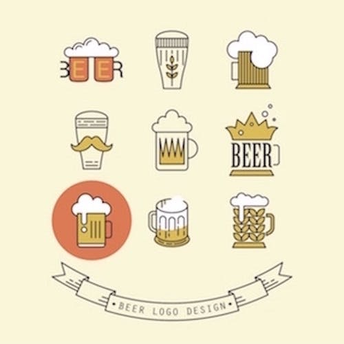 Image of 9 different beer logo vector design(s)