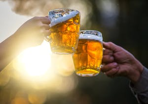 Photo of two arms raising their beer glasses to each other in the sun