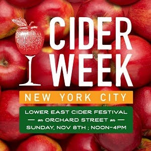 Image of a CiderWeek NYC ad, including date, time, and location of the cider festival