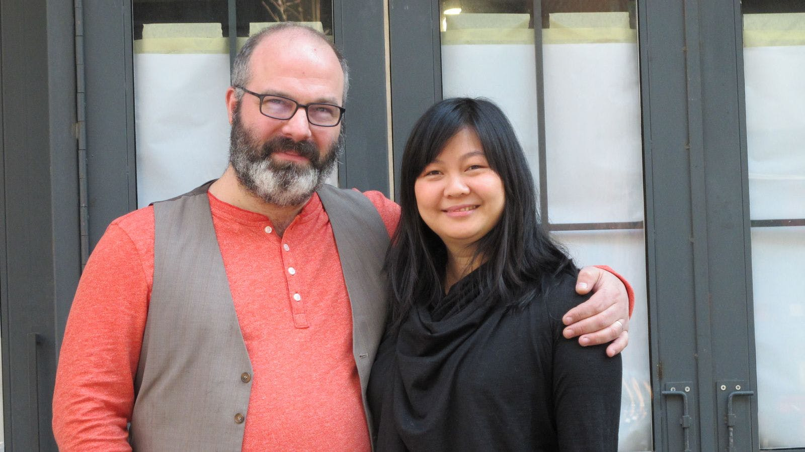 Photo of Ben Sandler and Jennifer Lim, owners of Wassail cider bar in NYC. Photo credit, Layla Khabiri
