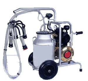 Photo of a portable milking machine with a vacuum pump from the Pak Dairy Info website