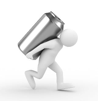 Image of a man figurine carrying a metal can on its back. Images courtesy of The Equipped Brewer