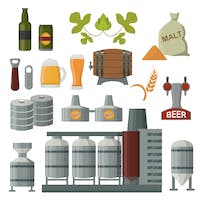 Image of ingredients and equipment used in brewery operations.