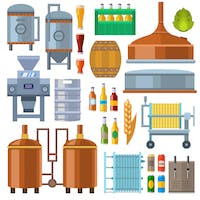 Image of ingredients and equipment used in the brewing process