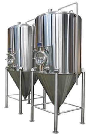 Image of two stainless steel brewhouse fermentation tanks