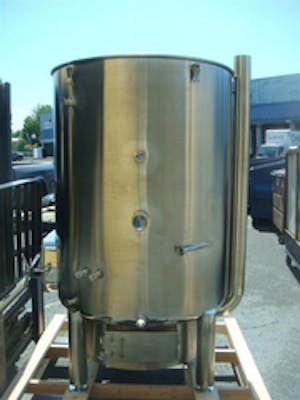 Image of a stainless steel hot liquor tank