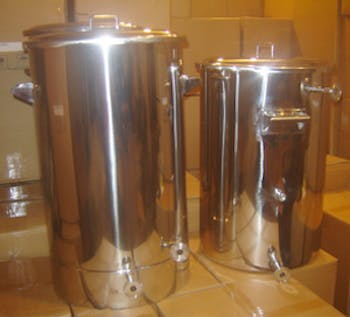 Image of a stainless steel brewing mash tun, also known as a brew kettle
