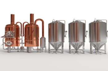 Image of a copper-and-stainless-steel brewing system