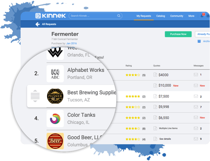 Screenshot of Kinnek's My Request product search results & supplier quote comparison