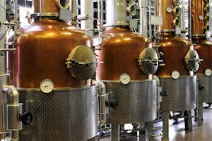 Photo of four copper distillation stills in a distillery