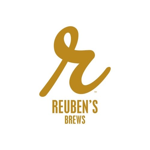 Image of Reuben's Brews logo with a lower-case, cursive-style r at the top of the image and Reuben's Brews written below it