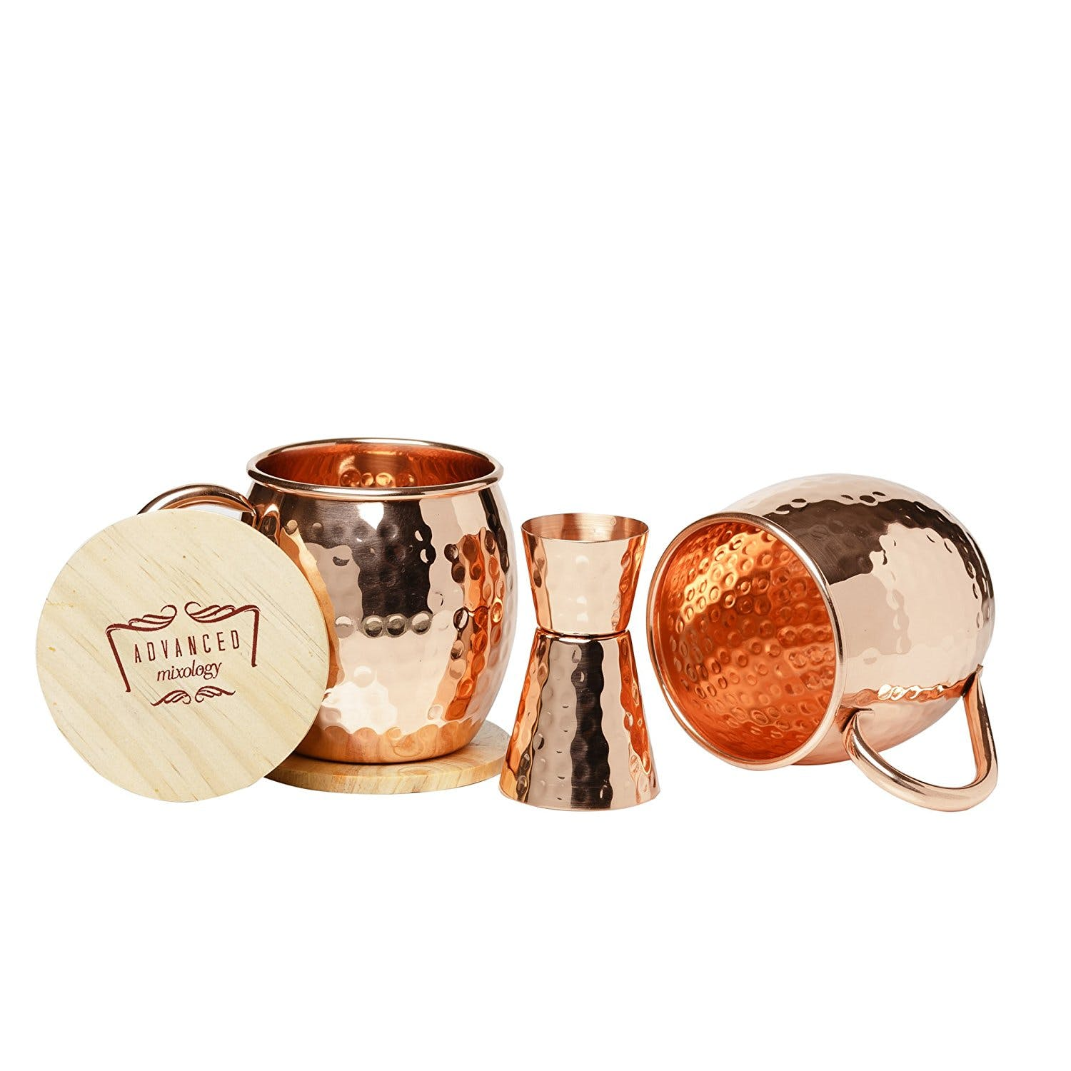 Advanced Mixology 100% Pure Copper Moscow Mule Mugs Set of 2 16 Oz Each | Authentic, Hammered, Handcrafted Cups with Welded Copper Handles | Gift Box Includes Bonus Copper Jigger & Wooden Coasters - sold by Advanced Mixology