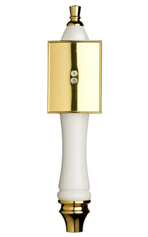 White Pub Tap Handle with Gold Rectangle Shield Tap handle sold by Taphandles LLC
