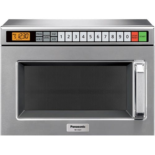 Panasonic NE-12523 Heavy Duty Commercial Microwave Oven w/ 3 Year Warranty - 1200 Watts Commercial microwave sold by Mission Restaurant Supply