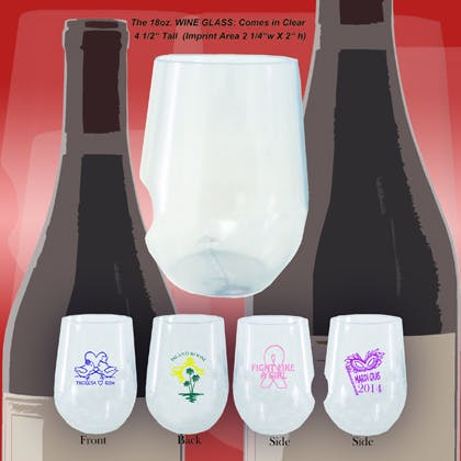 Stemless Wine Glass Wine glass sold by 1 Custom Promotions