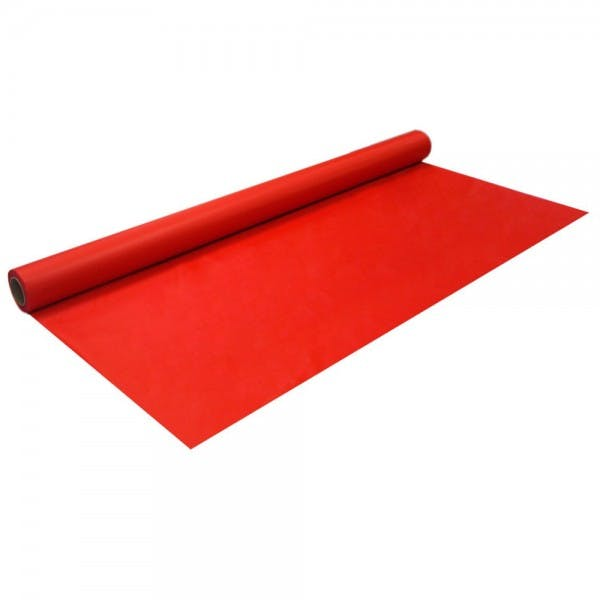 """40"""" x 100' Red Disposable Plastic Banquet Roll"""