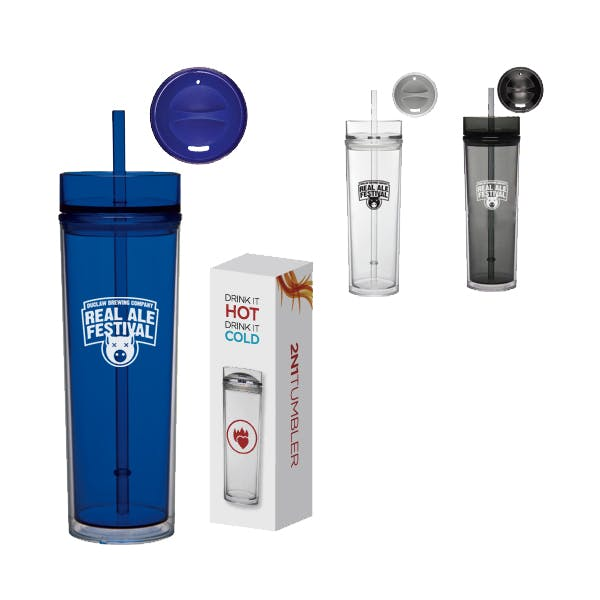 16oz Tube Tumbler Hot and Cold Gift Set Promotional water bottle sold by MicrobrewMarketing.com