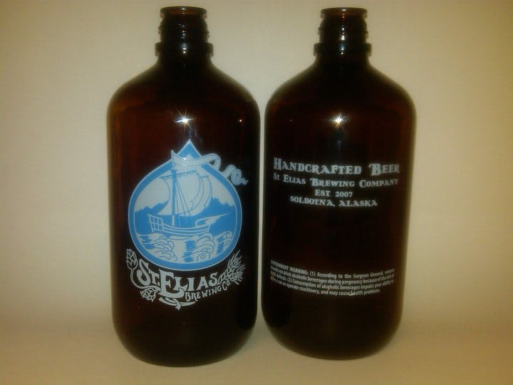 32oz Amber squealer Growler sold by Brew Pack Products