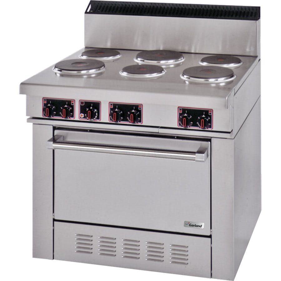 Garland SS686 Sentry Series 6 Sealed Burner Commercial Electric Restaurant Range with Standard Oven - 19 kW Commercial range sold by WebstaurantStore