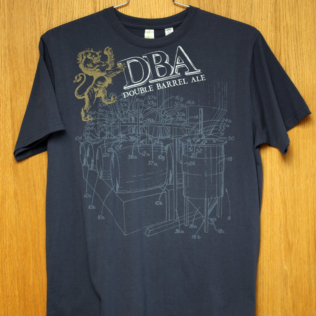 Econscious Tee - Firestone Walker - DBA w/ patent illustration Promotional shirt sold by Brewery Outfitters