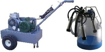 Deluxe Model milking machine for COWS with ONE 8 Gal. Plastic bucket assembly Milking machine sold by Simple Milking Equipment