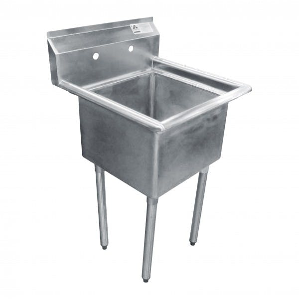 "23"" 1 Compartment Stainless Commercial Sink w/ Drain Assembly"