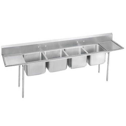 Advance Tabco 9-24-80-18RL Regaline Four Compartment Sink, 20 x 20 x 12 Bowls, Two Drainboards, 18/304 S/S, 126 Inches Sink sold by Mission Restaurant Supply