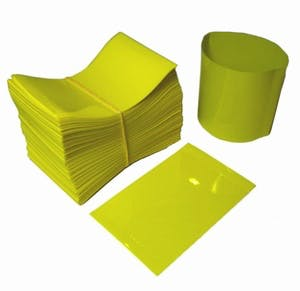 Yellow Shrink Bands for Sauce Bottles with 38mm Finish Shrink band sold by Fillmore Container Inc