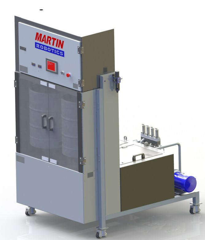 Martin Robotics Double Barrel Keg Washer, machine render. Keg washer sold by Martin Robotics