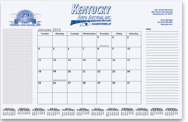 Small Calendar Desk Pads - Bebco Item B441 Custom calendar sold by Dechan, Inc. II