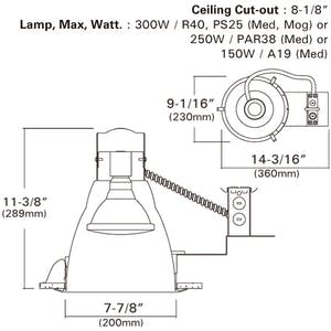 """8"""" HID Vertical Remodel Recessed Light, 120V/277V Electronic MH - sold by RelightDepot.com"""