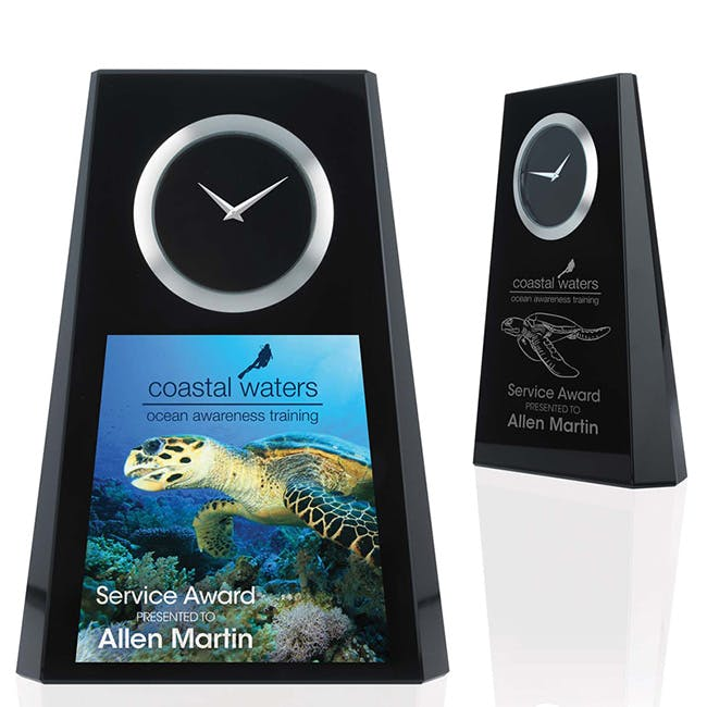 Trapezoid Award Clock by Jaffa® Award sold by Distrimatics, USA