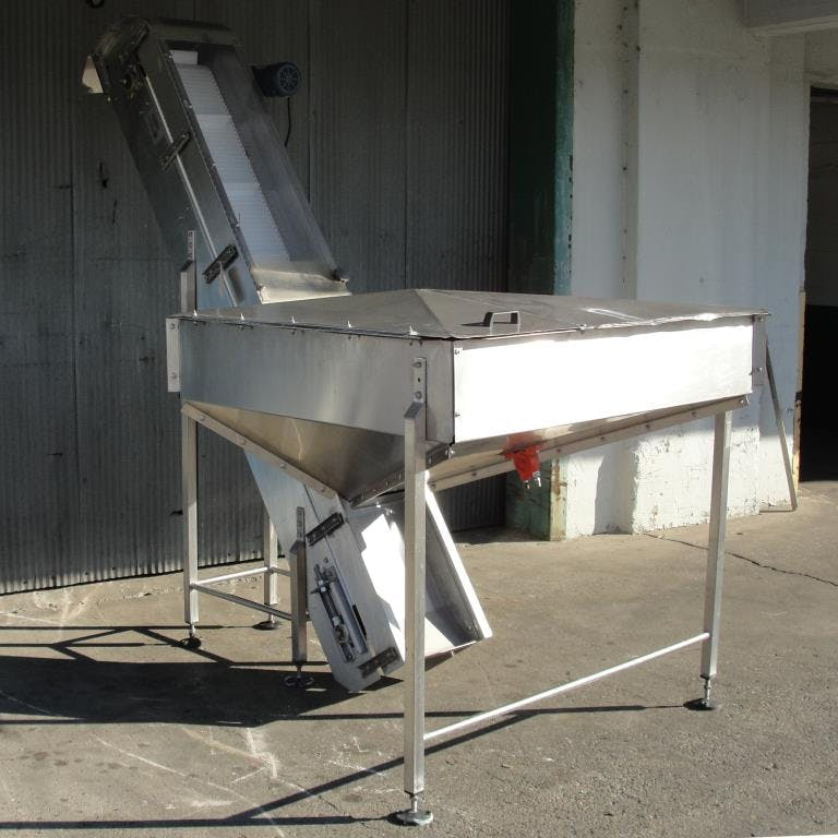 Stainless steel inclined belt elevator with plastic belt Conveyor sold by Special Projects International