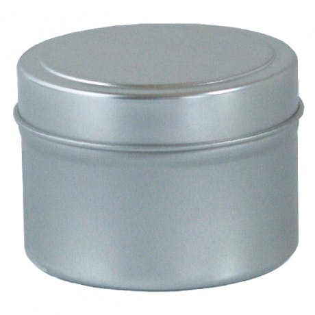 4 oz deep seamless measures 2 1/2 x 1 5/8 packed 288 per case Metal tins sold by Inmark Packaging