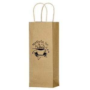 "Natural Kraft Paper 1-Bottle Wine Bag (5 1/2""x3 1/4""x12 1/2"") Wine bag sold by Ink Splash Promos™, LLC"