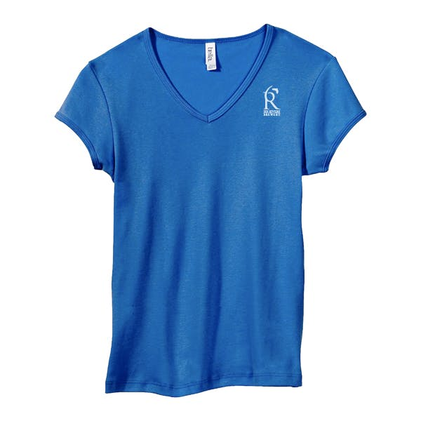 Bella Women's 1x1 Baby Rib V-Neck T-Shirt Promotional shirt sold by MicrobrewMarketing.com