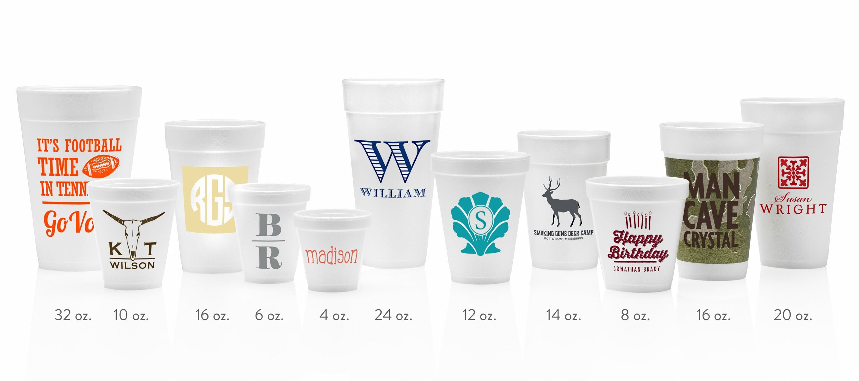 Custom Printed Styrofoam Cups in 10 sizes (min. 50) - Custom Plastic Cups - sold by Cup of Arms
