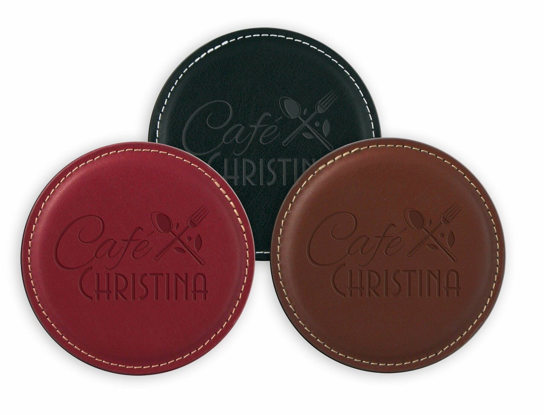 Leather Coaster (Item # DBIPN-JJLAI) Drink coaster sold by InkEasy