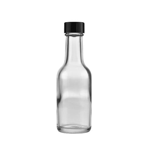 1.6 oz (50 ml) Clear Glass Mini Bottles (Black Phenolic Cap) Liquor bottle sold by Freund Container & Supply