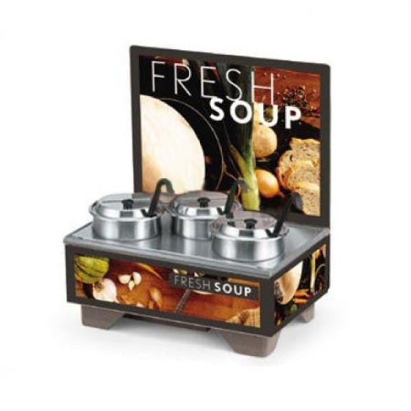 Cayenne® Full Size Rethermalizing Soup Merchandiser w/ Menu Board & Tuscan Graphics - V-VOL720201102