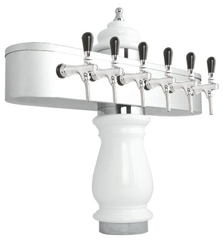 Porcelain Tower JAMAICA chrome Draft beer tower sold by Tap Your Keg, LLC