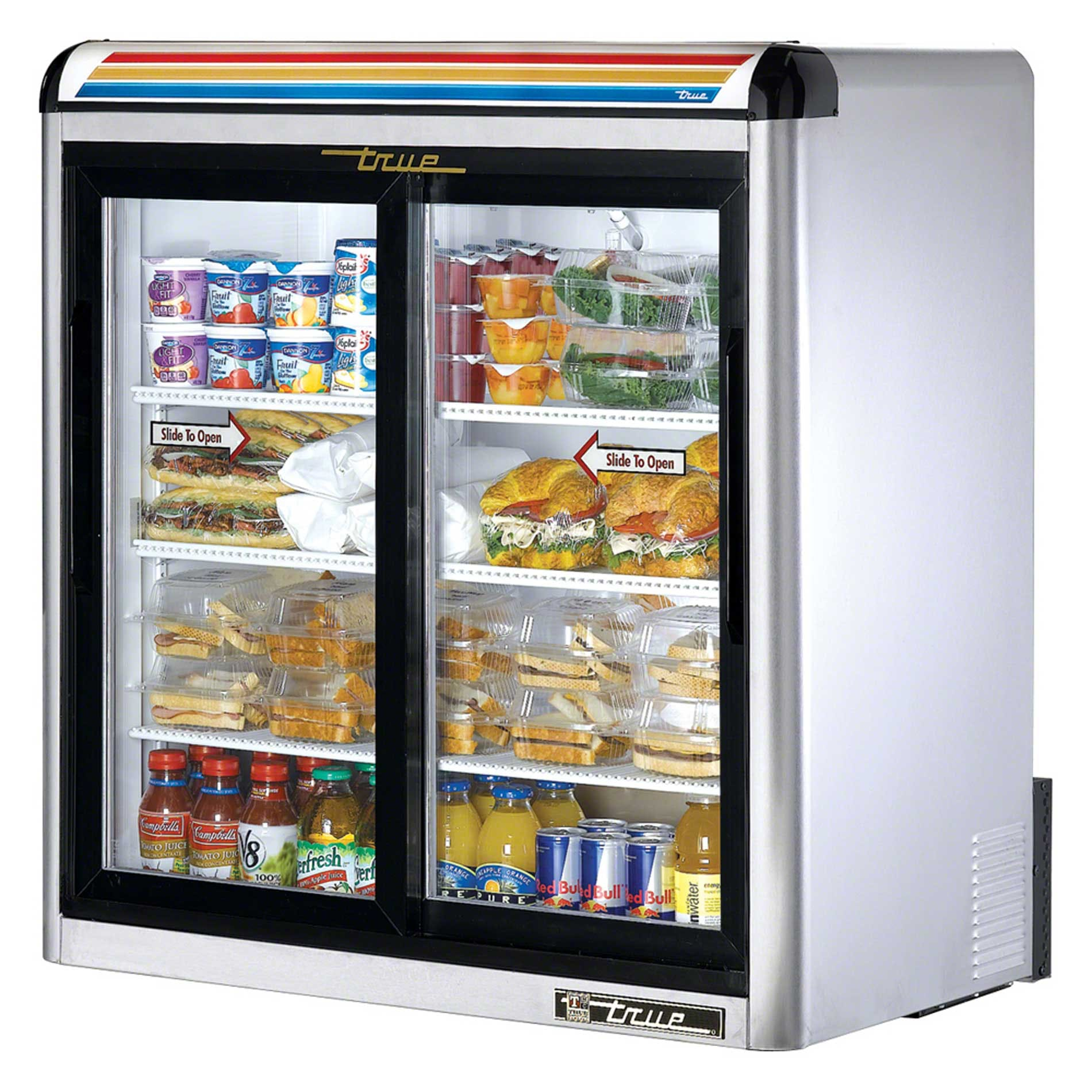 "True - GDM-9-S-LD 37"" Countertop Glass Door Merchandiser Refrigerator LED Commercial refrigerator sold by Food Service Warehouse"