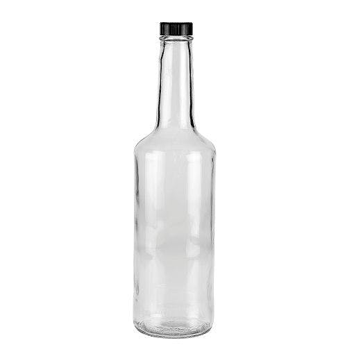 25.5 oz (750 mL) Clear Liquor & Spirit Glass Bottles (Optional Black Phenolic Cap) Liquor bottle sold by Freund Container & Supply
