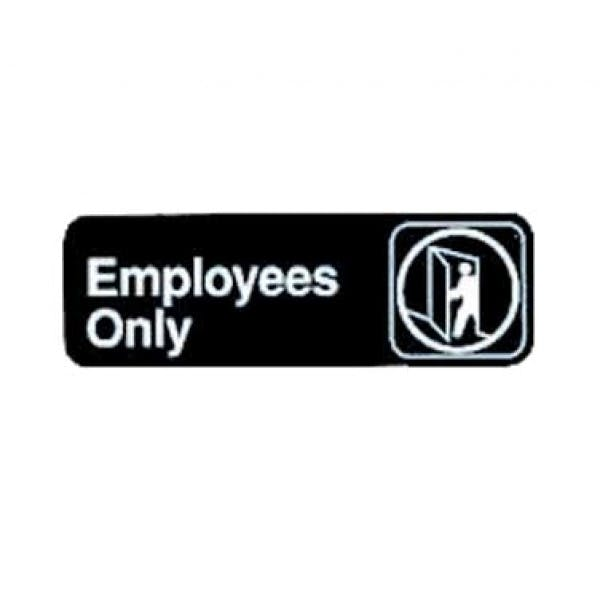 "9"" x 3"" Black Plastic ""Employees Only"" Sign"