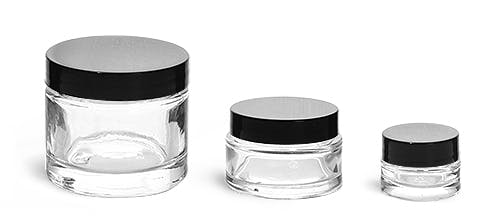 Clear Glass Thick Wall Cosmetic Jars W Black F 217 Lined