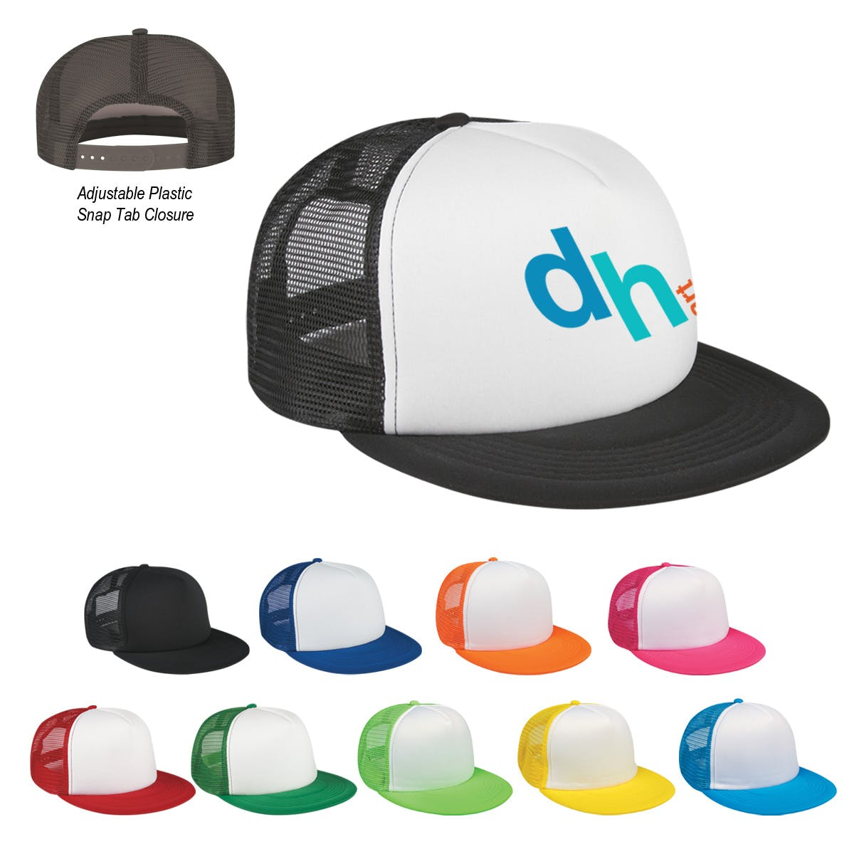 Flat Bill Trucker Cap (Item # RCMMT-ITLZK) Promotional cap sold by InkEasy