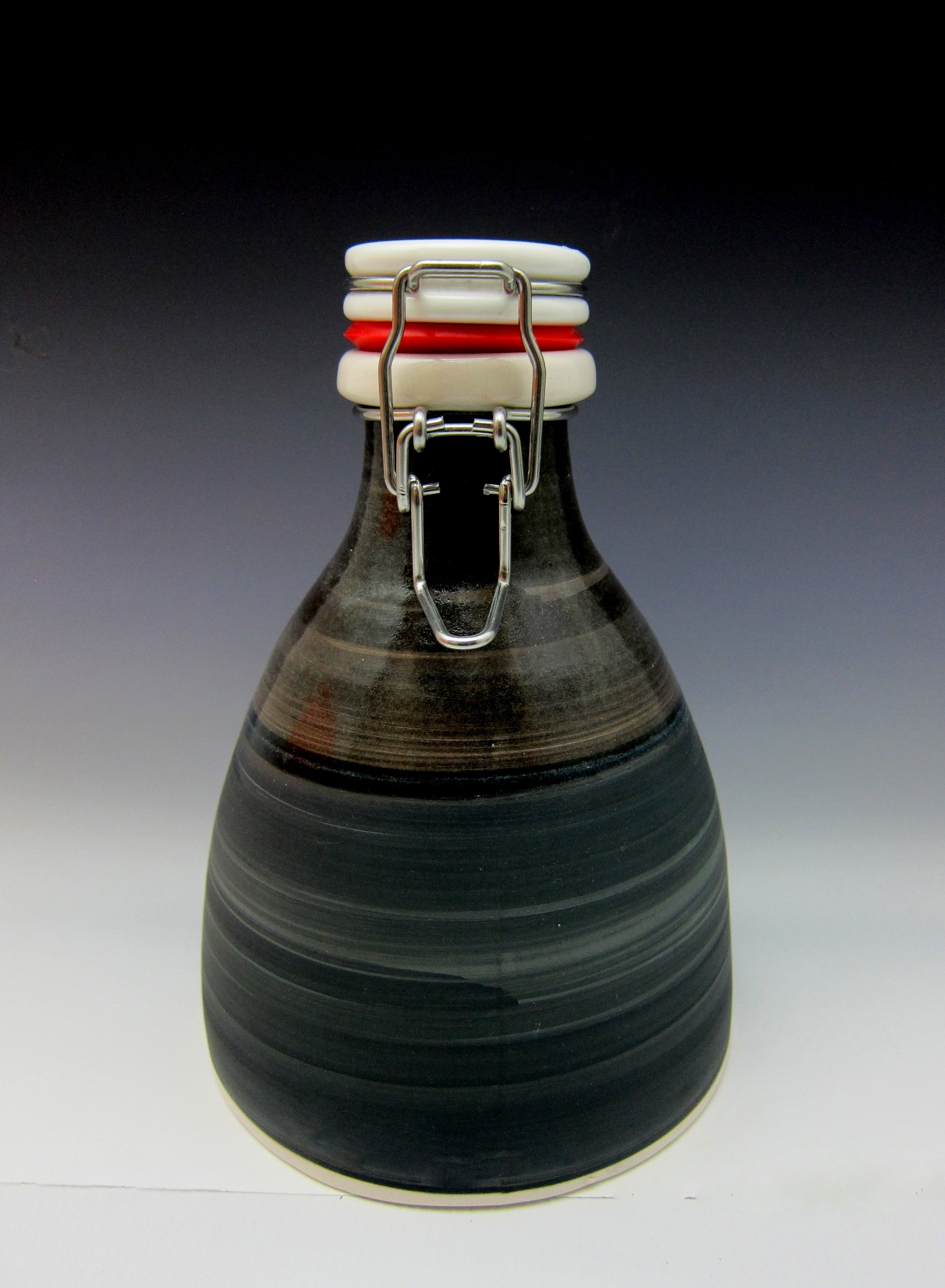 32oz ceramic growler with flip-top lid and chalk board surface  - 32oz ceramic beer growler with flip top lid - sold by Hand Crafted Growlers