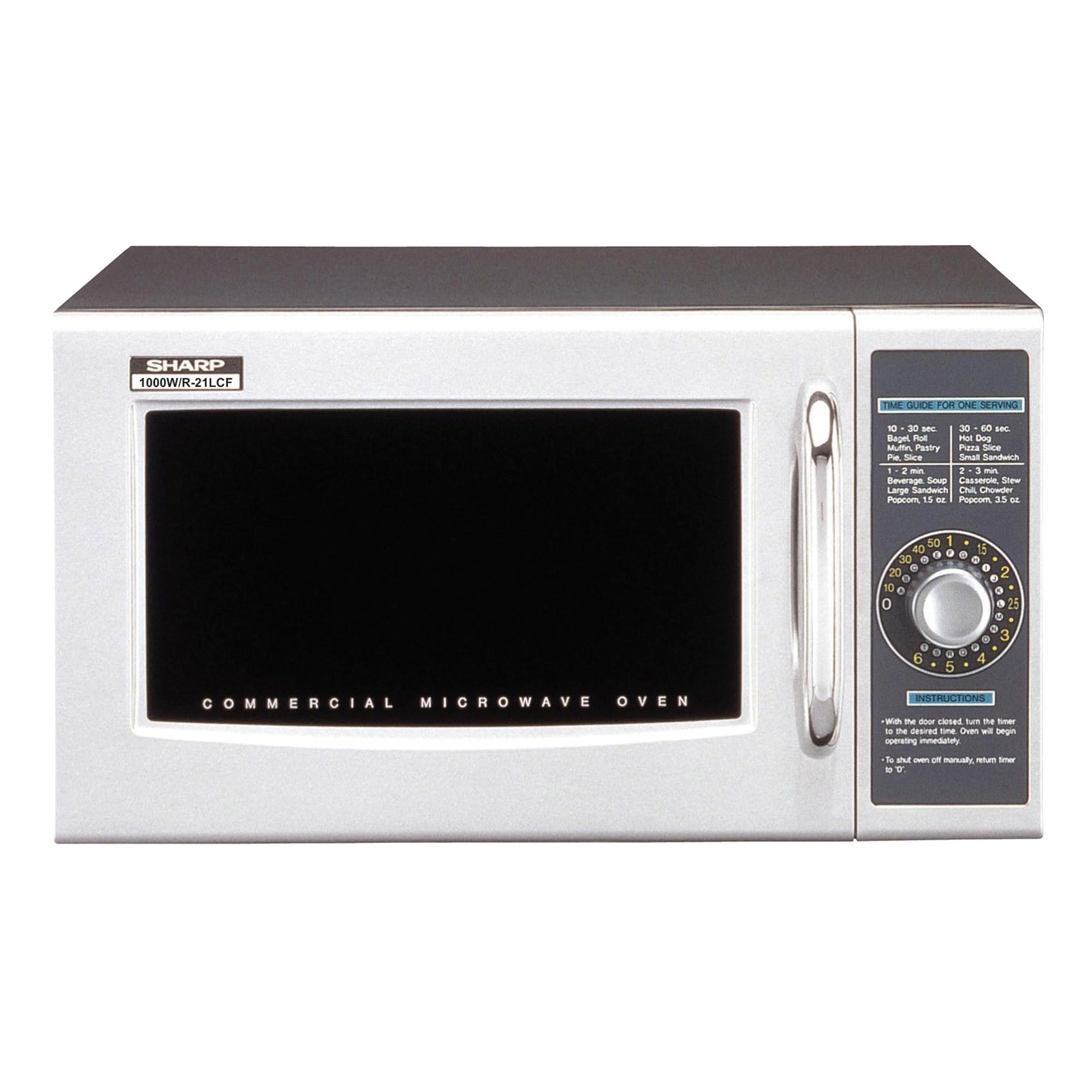 Sharp R-21LCF Medium Duty Microwave Oven - 1000 Watts (Electronic Dial Timer) Commercial microwave sold by Mission Restaurant Supply