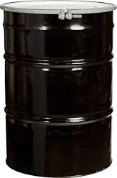 """55 Gallon Black Open Head Reconditioned Steel Drum with 2"""" and 3/4"""" Fittings and Bolt Ring, UN Rated - sold by The Cary Company"""